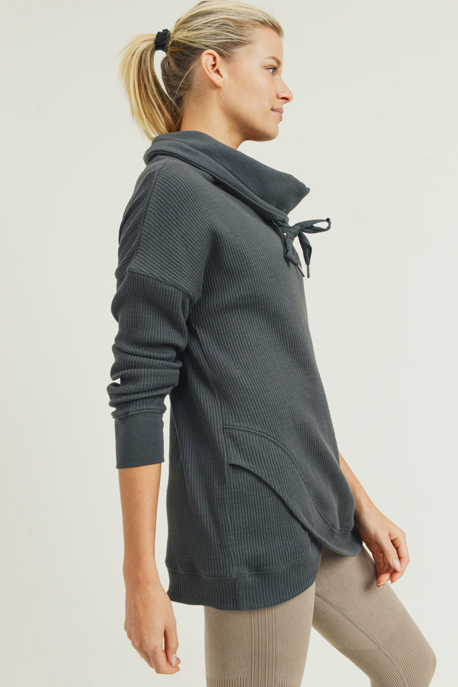 Cowl Neck Overlay Waffle Sweater in Kale | Allure Apparel Co