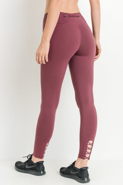 Criss-Cross Cut Out Full Leggings in Deep Plum | Allure Apparel Co