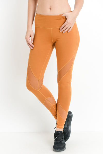 Criss-Cross Mesh Full Leggings in Coco | Allure Apparel Co