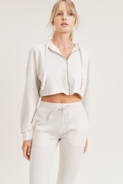 Crop Hoodie Zip-Up French Terry Jacket in Oatmeal | Allure Apparel Co
