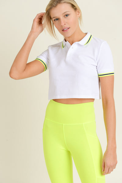 Stripe Trim Crop Polo Shirt in White | Allure Apparel Co
