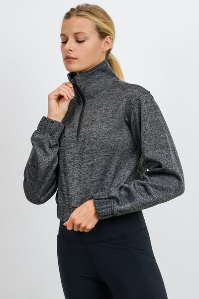 Crop Zippered Essential Pullover in Charcoal Grey | Allure Apparel Co