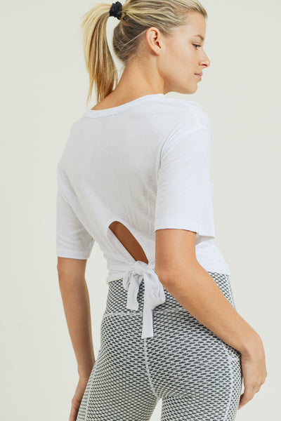 Cross-Front Tie-Back Crop Top in White | Allure Apparel Co