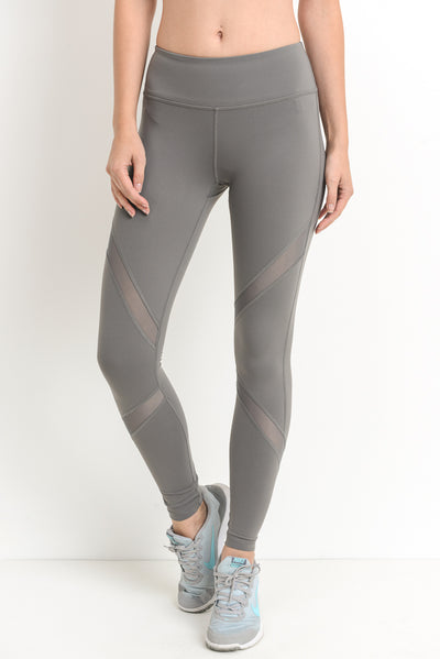 Cross Mesh Panel Full Leggings with Pockets in Medium Grey | Allure Apparel Co