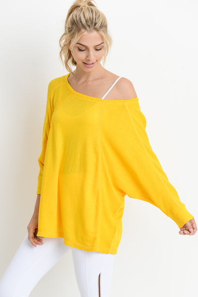Cuffed Dolman Sleeve Tunic Top in Yellow | Allure Apparel Co