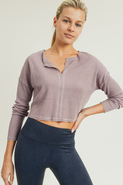 Deep Notch Collar Crop Waffle-Knit Pullover in Dusty Pink | Allure Apparel Co