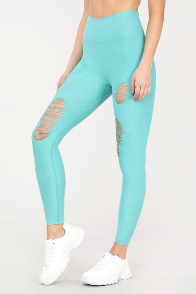 Distressed Seamless High Waisted Leggings in Jade | Allure Apparel Co
