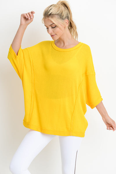 Dolman-Sleeve Hi-Lo Tunic Top in Yellow | Allure Apparel Co