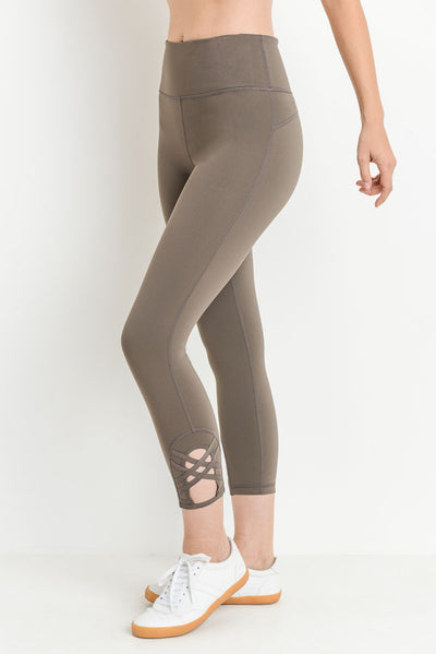 Double Criss-Cross Accent High Waist Capri Leggings in Medium Mocha | Allure Apparel Co