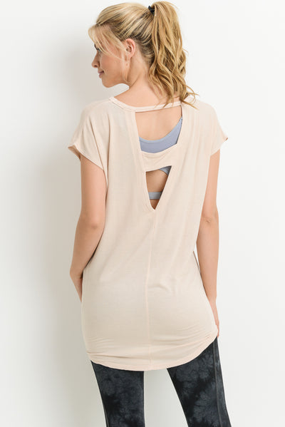 Double Horizontal Backstrap Top in Natural | Allure Apparel Co