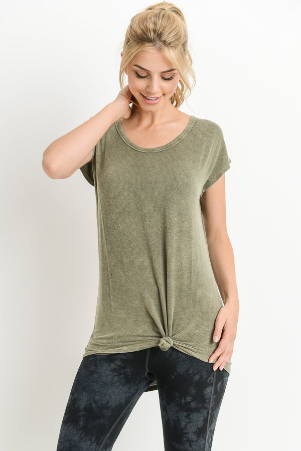 Double Horizontal Backstrap Top in Olive | Allure Apparel Co