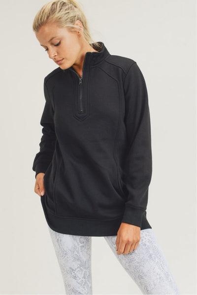 Double Raglan Active Half-Zipper Jacket in Black | Allure Apparel Co