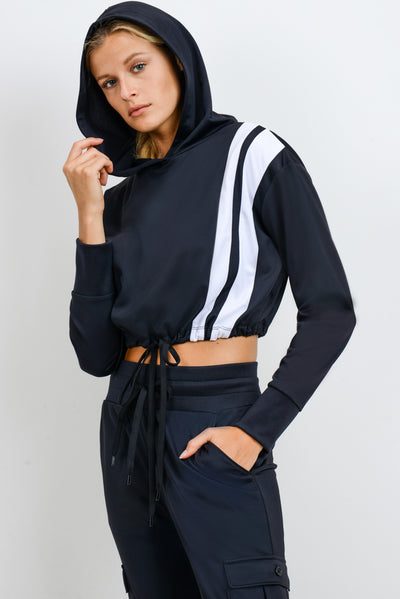 Double Stripe Tricot Hoodie Pullover | Allure Apparel Co