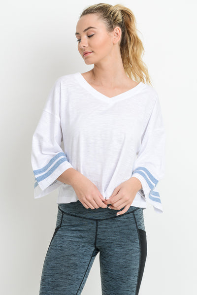 Double Stripe Wide Sleeve Tunic Shirt in White with Sky Blue Sleeves | Allure Apparel Co