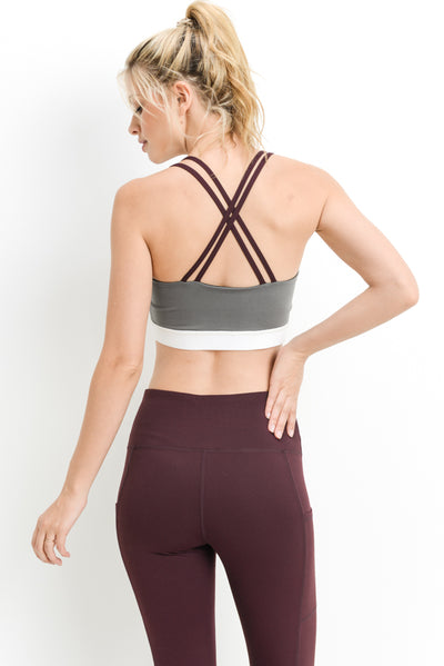 Double X-Strap Color Block Sports Bra in Multicolor | Allure Apparel Co