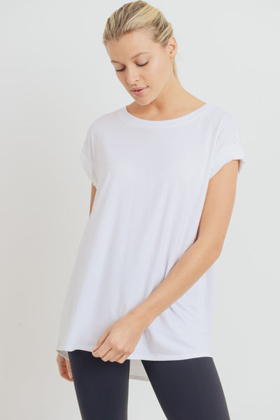 Essential Cap-Sleeve Solid Flow Top in White | Allure Apparel Co