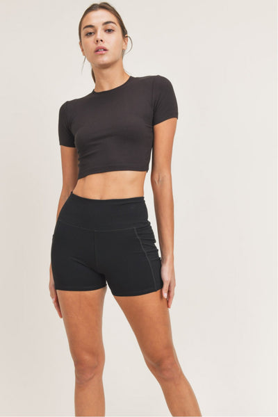 Essential Micro-Ribbed Cropped Tee in Black | Allure Apparel Co