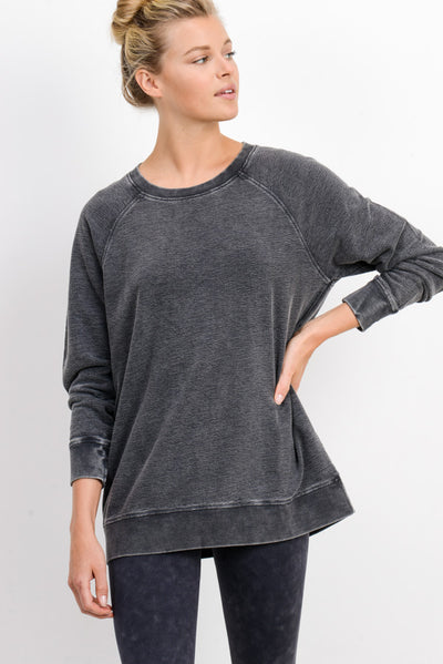 Essential Mineral-Wash Raglan Terry Pullover in Black | Allure Apparel Co
