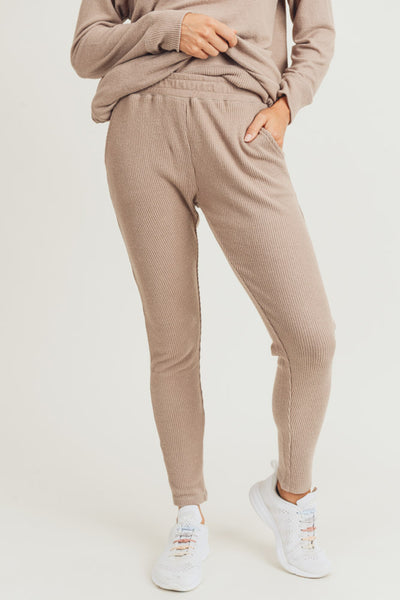 Essential Ribbed Sweatpants in Mushroom | Allure Apparel Co