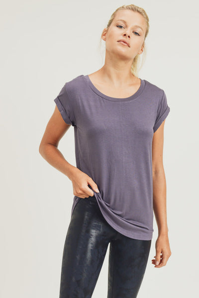 Essential Round Neck Cap Sleeve Shirt in Plum Grey | Allure Apparel Co