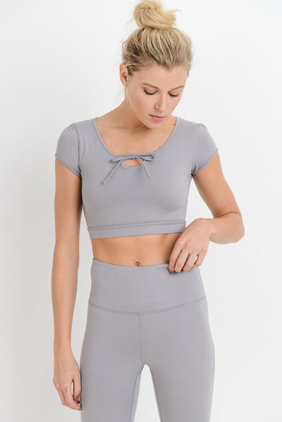 Form-Fit Tie Crop Top in Mauve | Allure Apparel Co