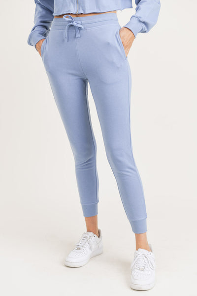 French Terry Cuffed Skinny Joggers in Periwinkle | Allure Apparel Co