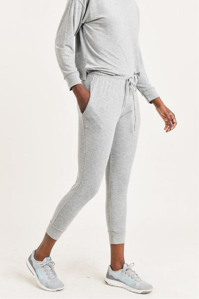 French Terry Joggers in Heather Grey | Allure Apparel Co