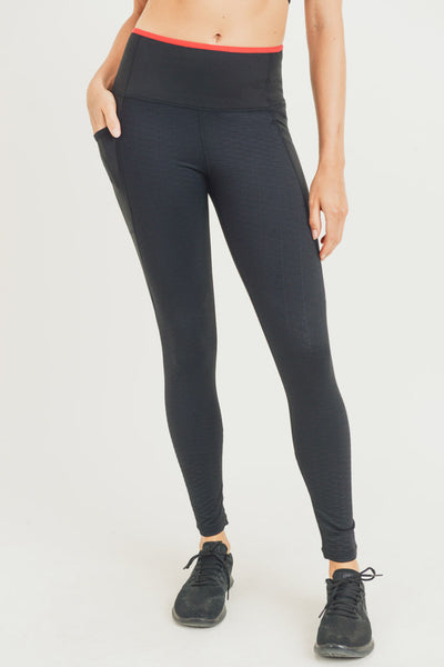 French Tip Lycra-Blend Jacquard Hybrid High Waisted Leggings | Allure Apparel Co