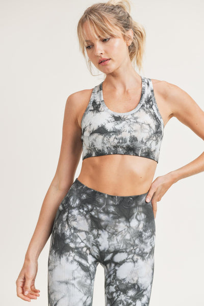 Glass Tie-Dye Seamless Ribbed Racerback Sports Bra in Black/White | Allure Apparel Co