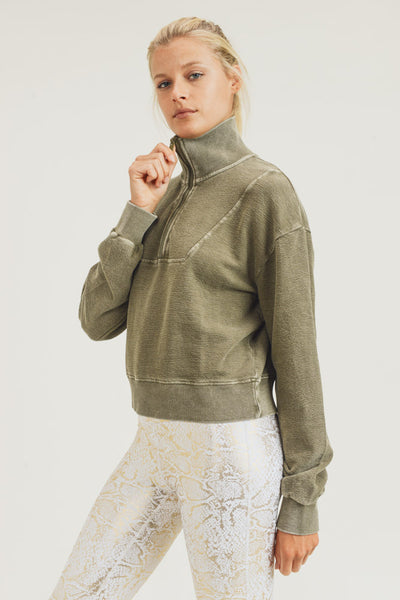 Half-Zip Jacquard Collared Mineral Pullover in Olive | Allure Apparel Co