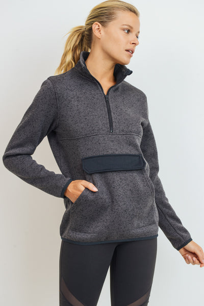 High-Neck Melange Pullover | Allure Apparel Co