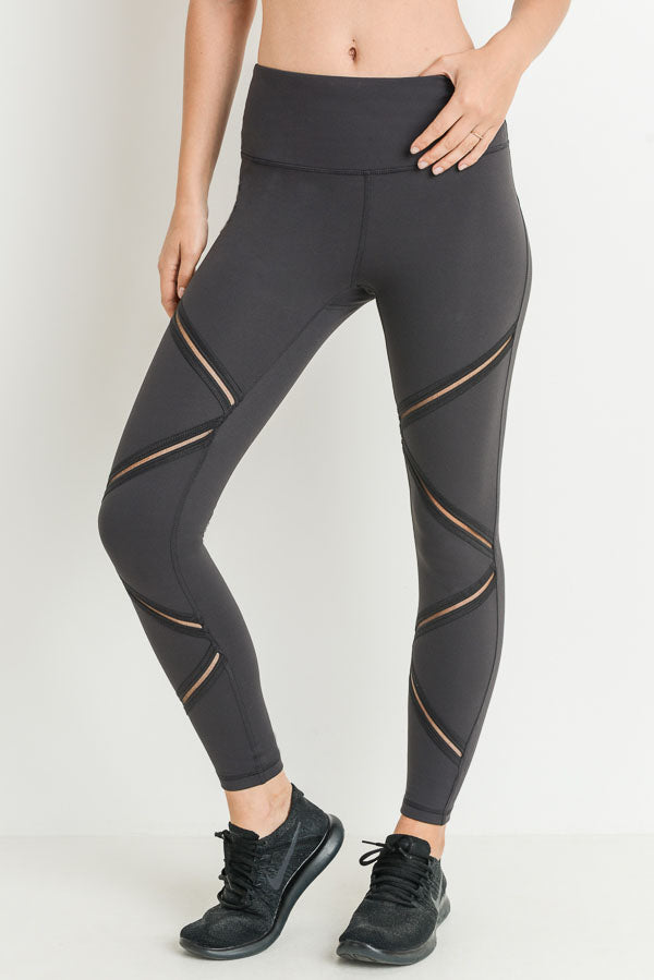 High Waist Infinity Zig-Zag Mesh Leggings in Charcoal Grey | Allure Apparel Co