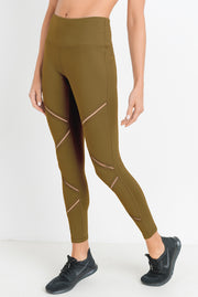 High Waist Infinity Zig-Zag Mesh Leggings in Dijon | Allure Apparel Co