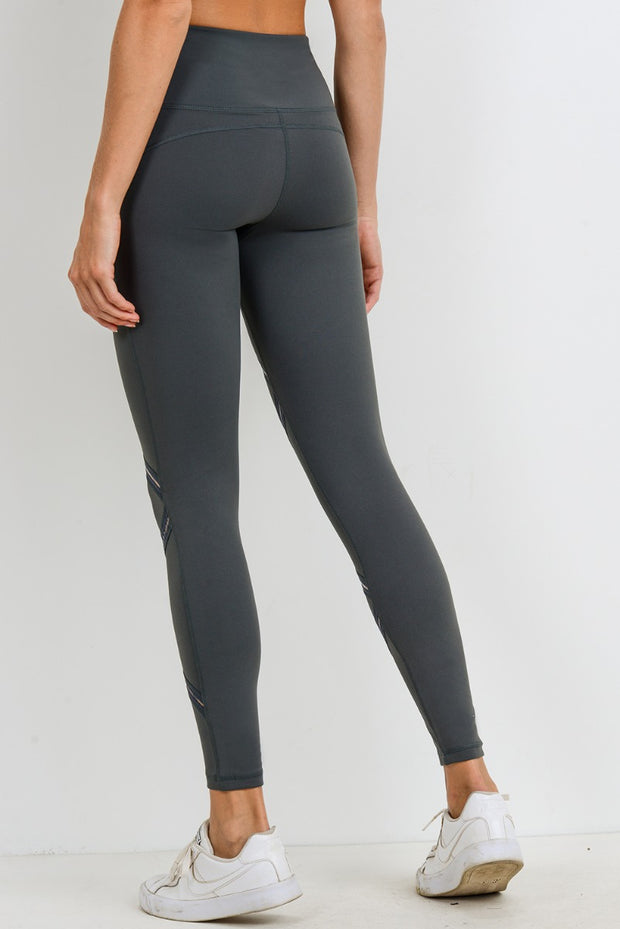 High Waist Infinity Zig-Zag Mesh Leggings in Kale | Allure Apparel Co