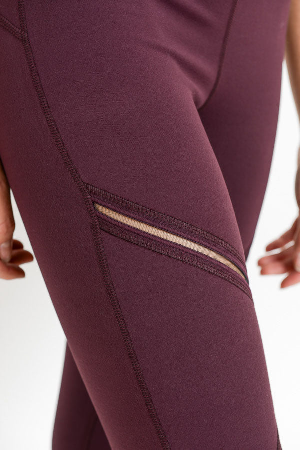 High Waist Infinity Zig-Zag Mesh Leggings in Plum | Allure Apparel Co