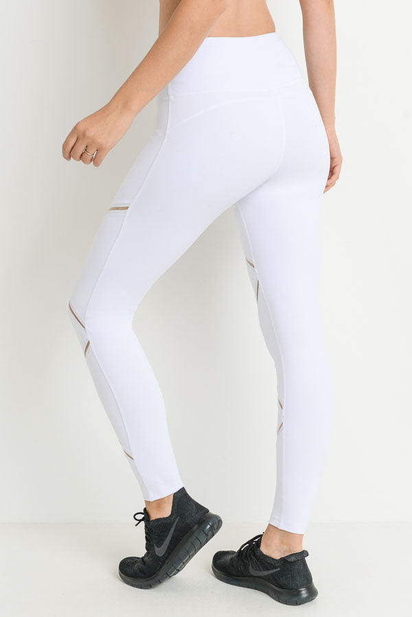 High Waist Infinity Zig-Zag Mesh Leggings in White | Allure Apparel Co