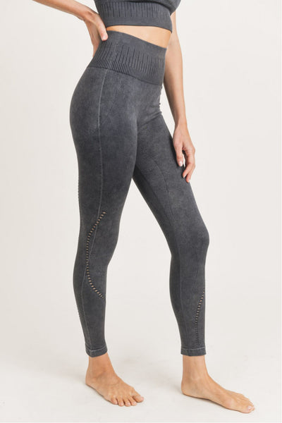 High Waist Mesh Ribbed Seamless Mineral Leggings in Black | Allure Apparel Co