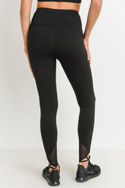High Waist Mesh Strap Full Leggings in Black | Allure Apparel Co