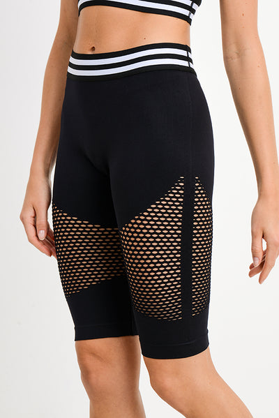 High Waisted Striped Seamless Bermuda Active Shorts | Allure Apparel Co