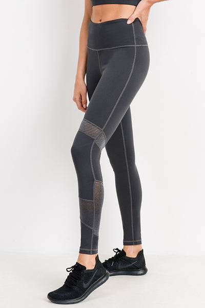 High Waist Wraparound Ribbed Mesh Leggings in Dark Grey | Allure Apparel Co