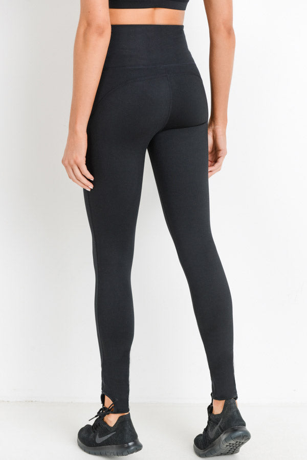 High Waisted Ankle Tie Leggings in Black | Allure Apparel Co