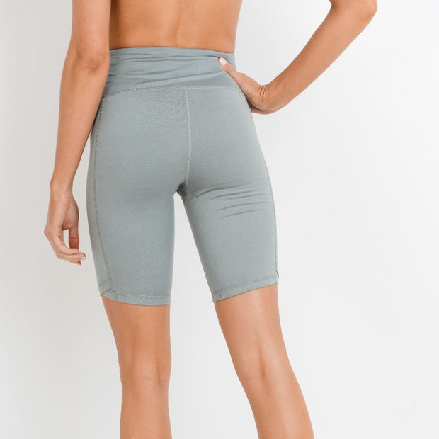 High Waisted Bermuda Legging Shorts with Vertical Zipper in Light Greyish Green | Allure Apparel Co