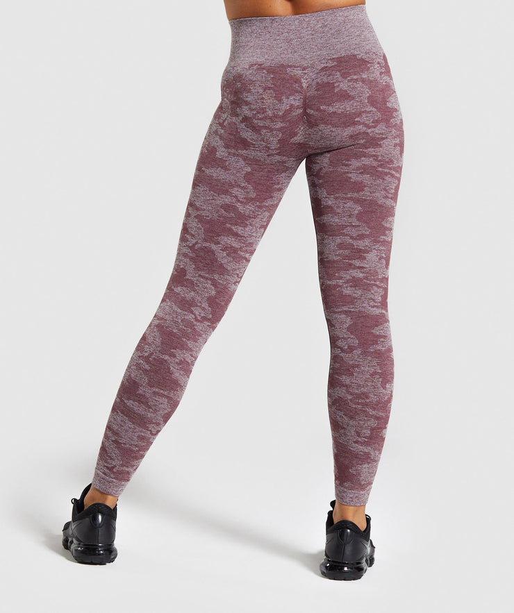High Waisted Breathable Camo Leggings in Burgundy | Allure Apparel Co