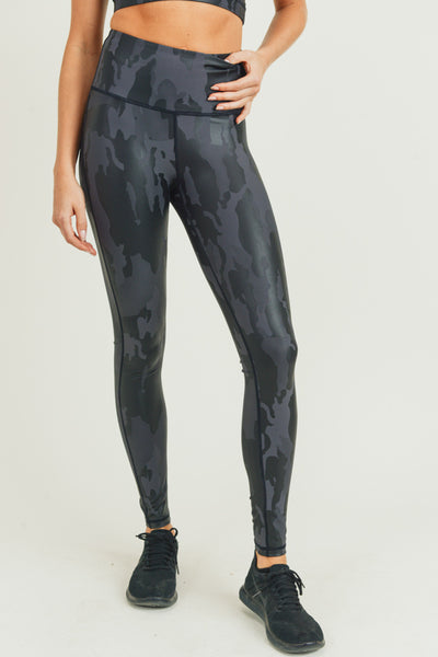 High Waisted Camo Foil Leggings in Black Camouflage | Allure Apparel Co