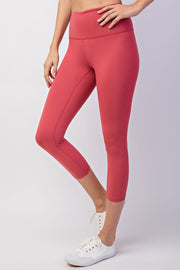 High Waisted Capri Essential Yoga Leggings in Coral | Allure Apparel Co