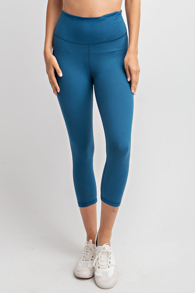 High Waisted Capri Essential Yoga Leggings in Teal | Allure Apparel Co