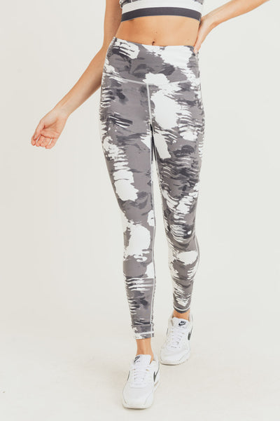 High Waisted Cloud Print Leggings in Grey/White | Allure Apparel Co