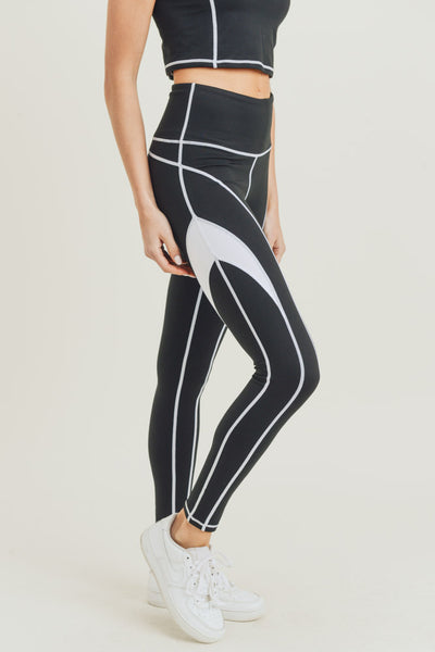 High Waisted Contrast Splice Color Block Leggings in Black | Allure Apparel Co
