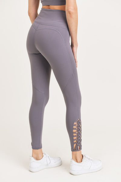 High Waisted Dragon Braid Leggings in Plum Grey | Allure Apparel Co