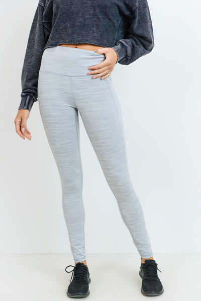 High Waisted Essential Melange Leggings in Light Heather Grey | Allure Apparel Co